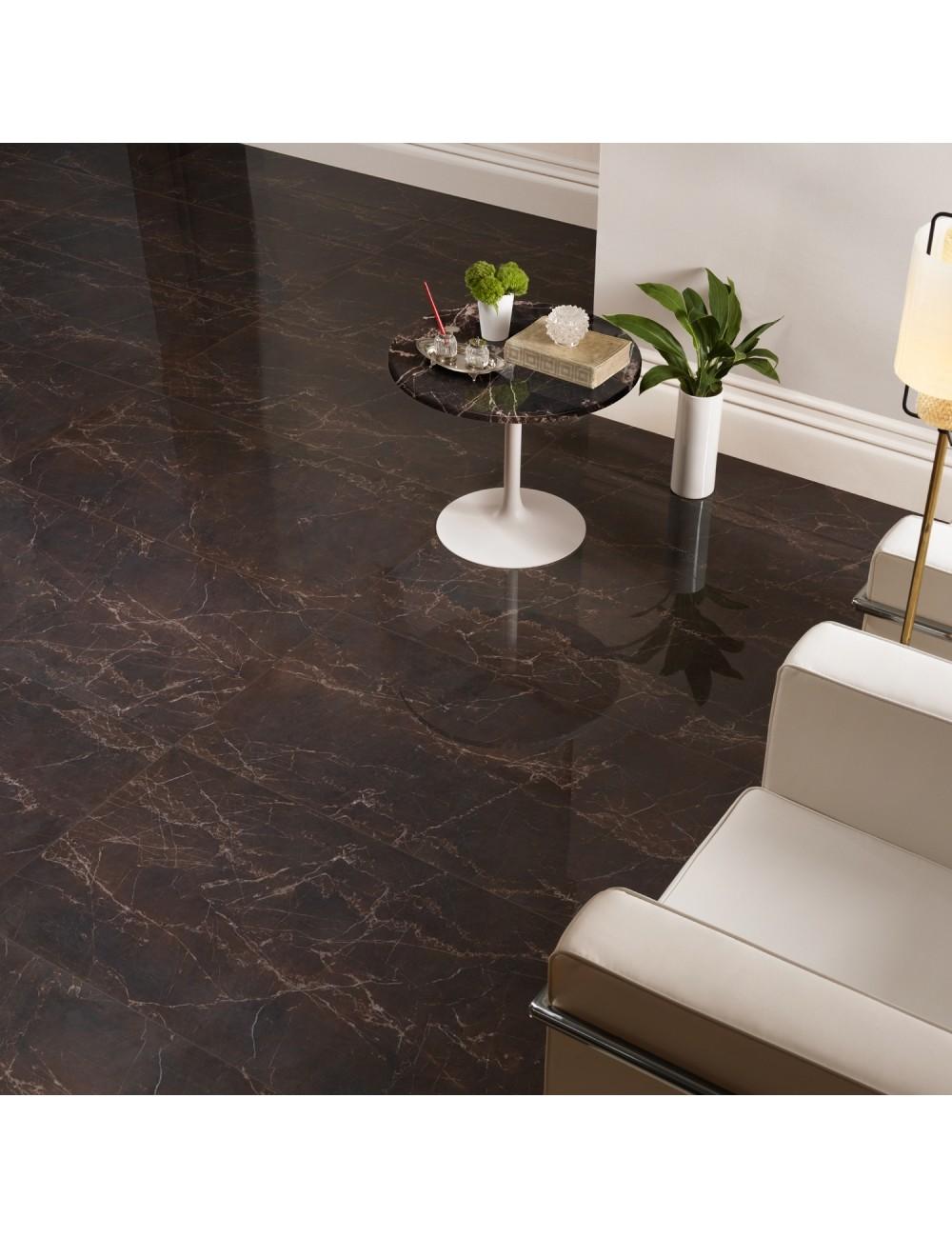 Gres Effetto Marmo Lucido Color Marrone Per Un Pavimento Elegante