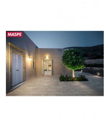 Pavimentazione esterna notturna con autobloccanti texxa limestone grigio titanio
