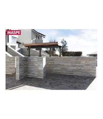 Cancello ingresso esterno rivestito con pietra natura Maspe canova wide