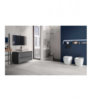 Ambiente con wc e bidet a terra linea Metropolitan Rak Ceramics