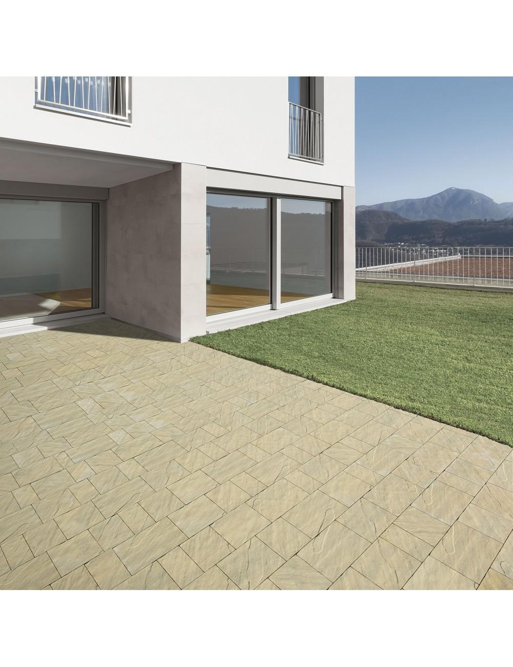 Pavimento da esterno autobloccanti filtranti Maspe serie skema sandstone giallo reale