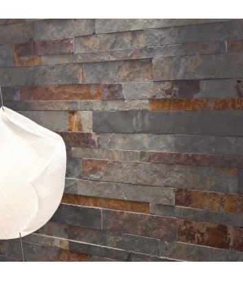 Dettaglio parete con rivestimento interno in pietra naturale picasso wide maspe