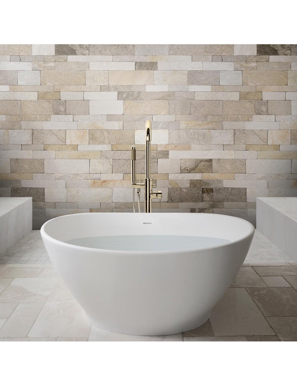 parete bagno rivestita con la pietra naturale da rivestimento van gogh maxi wide