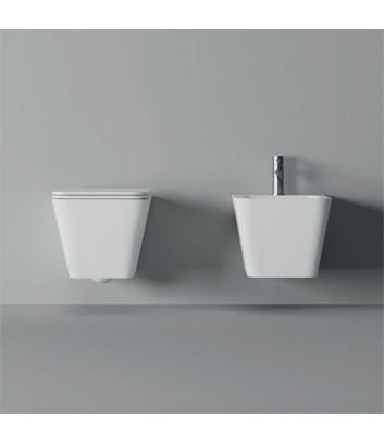 Sanitari bagno sospesi bianchi quadrati Hide Alice Ceramica